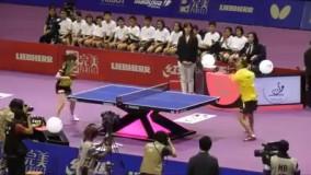 مسابقه پینگ پنگ مرد فلج با دختر سالم و برنده شدن مرد