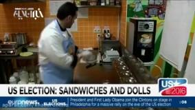 ساندویچ ترامپ با سس زرد و هیلاری با فلفل زیاد