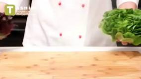 آموزش آشپزی- تزیین سالاد به شکل بوته گل
