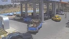 انفجار نیسان در پمپ گاز
