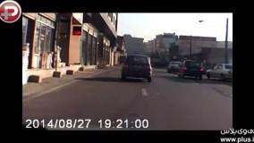 لحظه دستگیری دزدی که با یک پراید، موتورسوارها را زیر گرفت و شهر را بهم ریخت!