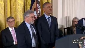 باراک اوباما رئیس جمهور امریکا به رابرت دنیرو مدال افتخار اعطا کرد.