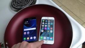 تست مقاومت Galaxy S7 و iphone 6S  در آب جوش