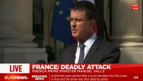 سخنرانی مانوئل والس نخست وزیر فرانسه درباره حمله شب گذشته، نیس فرانسه