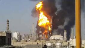 انفجار و آتش سوزی بزرگ در پتروشیمی ماهشهر در جنوب خوزستان