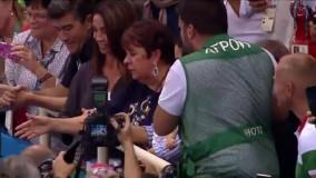 بوسه های مایکل فلپس بر کودک نوزادش پس از کسب 21 مین مدال طلای المپیک ریو 2016