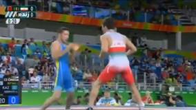 ضربه فنی شدن سوریان مقابل قزاقستان (المپیک ریو 2016)