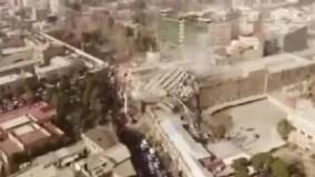 اولین تصاویر هوایی از محل حادثه پلاسکو