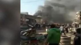 لحظات اولیه پس از انفجار خودرو بمب گذاری شده در سوریه