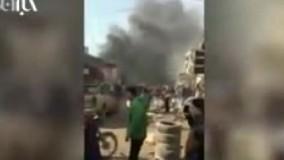 لحظات اولیه پس از انفجار خودروی بمب گذاری شده در سوریه