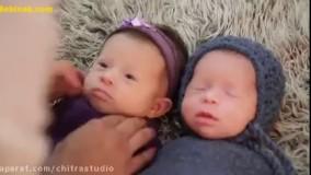 عکاسی از نوزاد دوقلو + فیلم