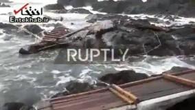 فیلم/ بقایای قایق غرقشده کره شمالی در سواحل ژاپن