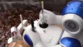 روباتی که پهپاد به آسمان می فرستد