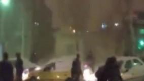 برف و صحنه تصادف دهها خودرو به علت عدم کنترل