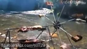 ابتکار در پخت کباب برای چرخاندن سیخ