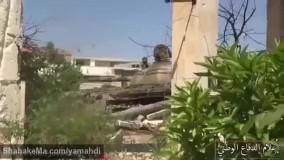 زدن مقر تروریستها با تانک تی ۵۵ ارتش سوریه