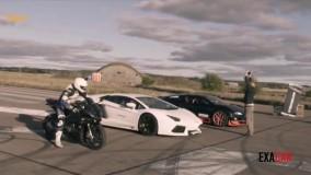 مسابقه موتور با ماشین