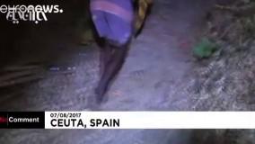 شادی مهاجران پس از عبور از مرز سیوتای اسپانیا