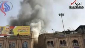 فیلم/ آتش سوزی مقابل حرم حضرت عباس (ع)
