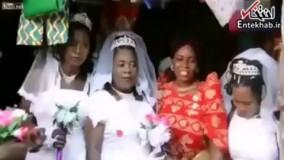 فیلم/ ازدواج مرد ۵۰ ساله همزمان با ۳ دختر جوان در اوگاندا!