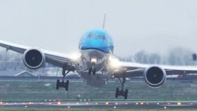 لندینگ بوئینگ787 در فرودگاه آمستردام