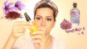 جوان سازی و شفاف سازی پوست با تونر خانگی گلاب و زعفران
