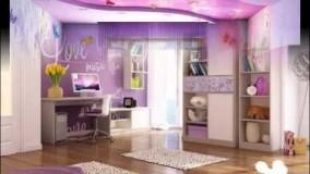 دکوراسیون اتاق خواب دخترانه بنفش-دکوراسیون اتاق خواب دخترانه جوان 2018