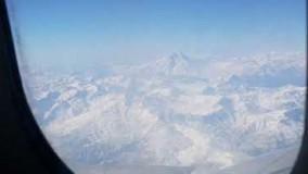 نمایی از قله همیشه سرفراز دماوند از داخل هواپیما مسیر گرگان تهران