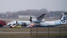 تخلیه هواپیما در فرودگاه آمستردام پس از سقوط روی باند