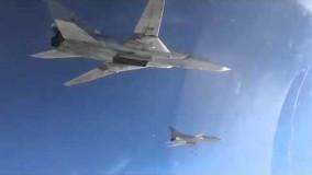 شکاری اف14 تامکت نیروی هوایی ایران در حال اسکورت بمب افکنهای روسی