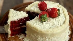 کیک پزی--تهیه کیک رد ولوت با کرم پنیری