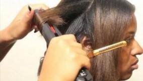 آموزش کراتینه مو کوتاه مجعد + شینیون فر مو