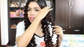 آموزش خودآرایی زیبا مو + فر کردن مو با نی