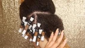 کلیپ آموزش خودآرایی مو مجعد با بیگودی + فر کردن مو
