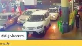 آتش زدن پمپ بنزین توسط خودرو-خرید دوربین مدار بسته دیجی ویرا