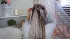 کلیپ آموزش بافت مو زیبا با کش چهل گیس + شینیون باز مو