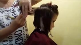 فیلم آموزش کوتاه کردن مو  جلو بلند تر از پشت دخترانه