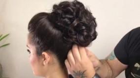 کلیپ آموزش حرفه ای شینیون مو با پیچش مو + شینیون عروس