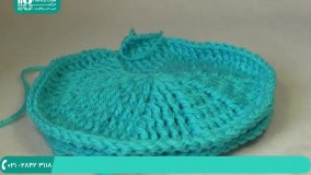 آموزش قلاب بافی شالگردن و کلاه زمستانی با دو رنگ نخ