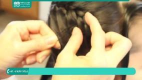 آموزش بافت مو فرانسوی به صورت مورب در پشت سر