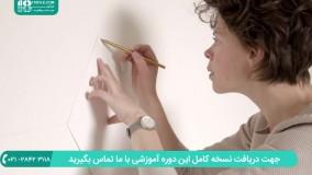 روش رنگ آمیزی دیوار به شکل کاغذ دیواری ( طرح لوزی )