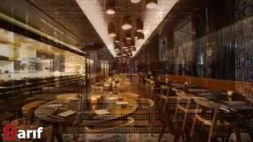 دکوراسیون داخلی رستوران با هلدینگ شریفی