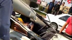 فیلم حادثه هولناک در نصیرشهر ؛  تریلی پیکان وانت را له کرد