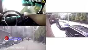 حمله به خودروی پلیس با مشعل در آمریکا