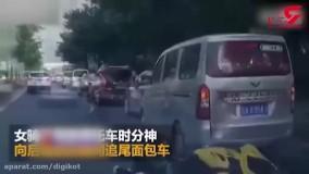 تصادف دختر موتورسوار حواس پرت با خودرو