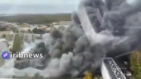 آتش سوزی گسترده در بندری در شمال فرانسه