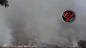 آتش سوزی مهیب جنگل های ارس به خاطر اصابت خمپاره های ارمنستان