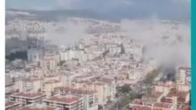 لحظه وقوع زلزله در ازمیر ترکیه و تخریب ساختمانها