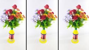 ساخت گلدان زیبا از بطری های پلاستیکی
