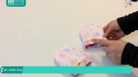 سیسمونی نوزادی | دوخت دستکش نوزاد با پارچه مخملی